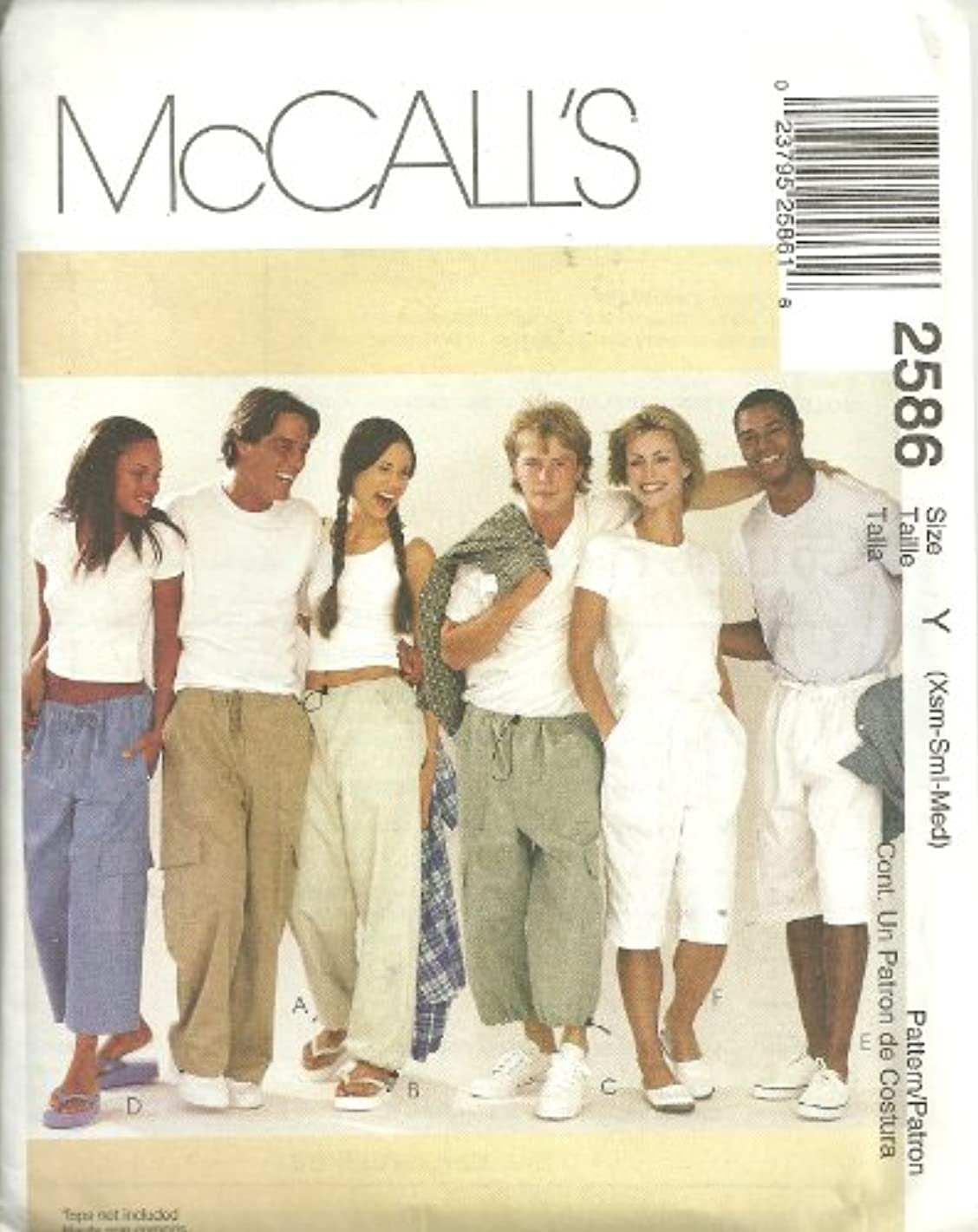 McCall's Pattern 2586 ~ Misses', Men's and Teen Boys' Drawstring Pants in Three Lengths, Size Y (Small-Med-Large)