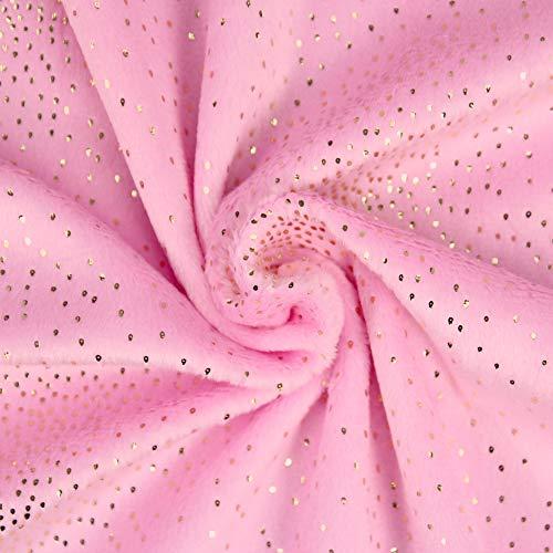 kullaloo Plüsch Glitzer Stoff Shorty Sparkle Meterware 2mm Florlänge 0,5m (rosa)