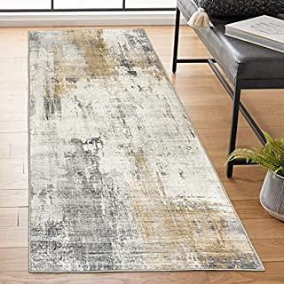 """ReaLife Machine Washable Rug - Stain Resistant, Non-Shed - Eco-Friendly, Non-Slip, Family & Pet Friendly - Made from Premium Recycled Fibers - Abstract Modern - Beige, Gray, Ivory, 2'6"""" x 6' (B08HJGSCJH) 