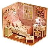 jiheousty Miniatura 3D DIY Hecho a Mano Sunshine Style Cabaña de Madera Casa Set Rompecabezas Ensamblaje Muñeca Modelo de construcción Juguetes Kit para niñas Novias Amigos Regalo de cumpleaños