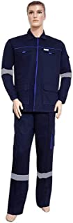 AAA Safe Premium Quality Pant Shirts, Working Uniform, 100% Cotton (L, Dark Blue)