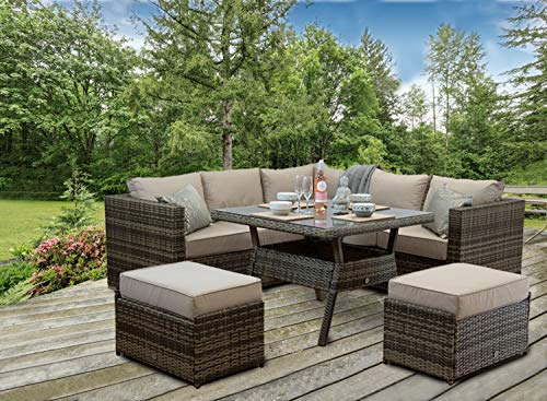 Furniture For The Home Rattan Patio Outdoor Garden Corner Sofa Dining Table Chairs Set Aluminuim (Brown Weave)