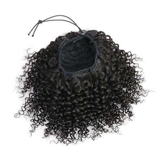 Extensión de Cabello Humano Cola Ponytail Con Cordón 35 cm, Extensión de Cola de Caballo Rizada Drawstring Ponytail 120g 14 Pulgadas 1B# Negro Natural