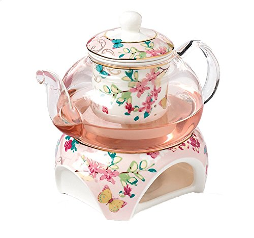 YBK Tech Teekanne aus Knochenporzellan und Glas, mit Stövchen und Tee-Ei, Rosa (Schmetterlinge Muster)