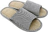 APIKA Mujeres y Hombres Zapatillas de Punta de Lino de algodón con luz Suave Abierta Zapatillas de casa cómodas y Transpirables Antideslizantes para Interiores y Exteriores, Color Armada, 42/43 EU
