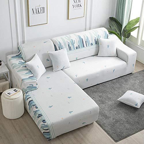 Funda Elástica para Sofá Cubierta del sofá Funda de sofá Funda elástica Protectora para sofá Material de poliéster de Planta de Cactus Verde Viene con 3 Fundas de Almohada