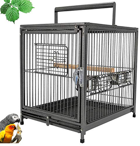 Mcage Portable Heavy Duty Travel Bird Parrot Carrier Cage Feeding Bowl Play Stand with Handle