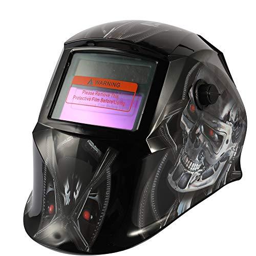 KKmoon Lasmasker met variabel licht, automatisch, werkt op zonne-energie, lasmasker met puntlas, met verstelbare draaiknop voor beugels 1