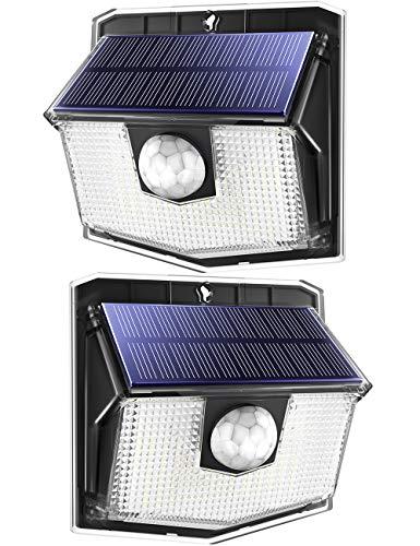 Litom 140, lampada solare con 3 modalità, angolo di illuminazione 270°, resistente all'acqua IP67, lampada solare per esterni, LED solare per garage, porta, scale, ingresso, 2 pezzi, bianco