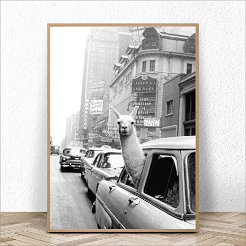 ganlanshu New York City Vintage Canvas Print Wall Picture Wall Artist Home Decor,Frameless painting,75x107cm
