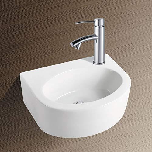 NEG Waschbecken Uno04H (extra klein/halbrund) Hänge-Waschschale/Waschtisch (weiß) mit flachem Rand und Nano-Beschichtung