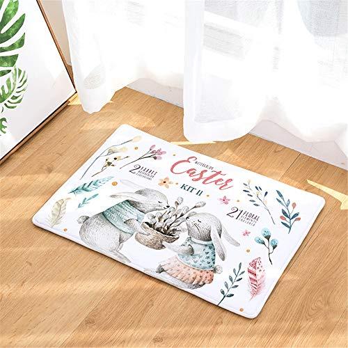Door Mat Indoor Outdoor, Morbuy Flannel Carpet Water Absorption Bedroom Bathroom Living Room Carpet Anti Slip Floor Mats - Easter Bunny Print (Easter flowers,40x60cm)