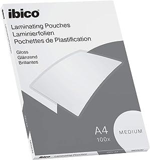 Ibico Basics Láminas para Plastificar Tamaño A4, Grosor Medio, Pack de 100, Acabado Brillante, Transparentes, 627309