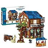 LAKA Ideen Stadtmarkkt Modular 1724Pcs - Cuadro del siglo medieval de calle Haurs arquitectura de ladrillo compatible con Lego Creator