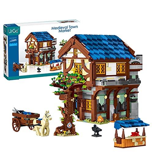 Mocdiy Le Village Médiéval Jeu de Construction, Modular Building Maison, Architecture Maison de Ville, 1724+Pièces Blocs de Construction Compatible avec Lego 21325 Magasin médiéval Forgeron