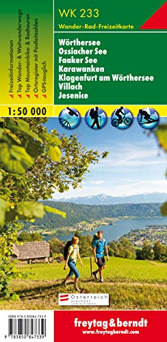 Freytag Berndt Wanderkarten, WK 233, Wörther See - Ossiacher See - Faaker See - Karawanken - Klagenfurt am Wörthersee - Villach - Jesenice, GPS, UTM - Maßstab 1:50 000