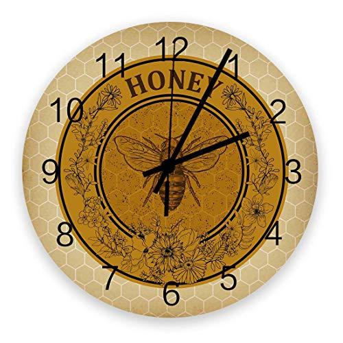 Reloj de pared redondo de madera de 10 ', silencioso, funciona con pilas, sin tictac, retro floral abejas miel, silencioso, oficina, cocina, dormitorio, reloj de pared, decoración del hogar, azulejo m