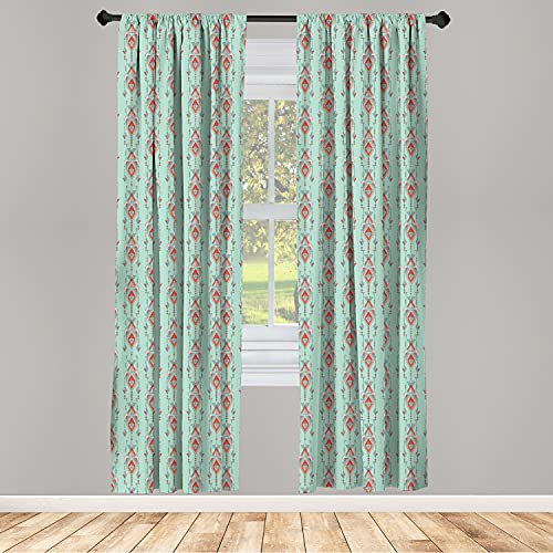 """Ambesonne Southwestern Window Curtains, Vintage Tribal Triangles Peruvian Mexican Traditional Motifs in Pastel Colors, Lightweight Decorative Panels Set of 2 with Rod Pocket, 56"""" x 84"""", Teal Red"""