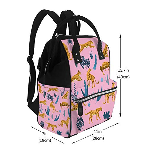 Water-Resistant Baby Bags Set Leopards In Various Poses Plants Flowers Large Cap