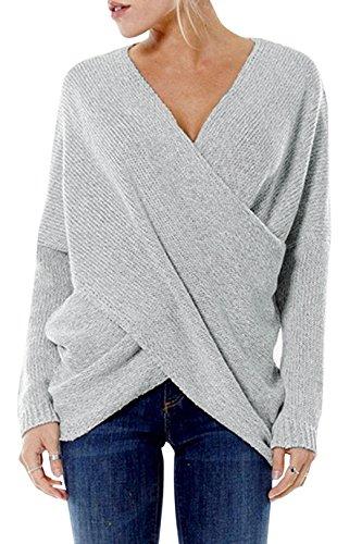 YOINS Damen Pullover Oberteile Strickpullover für Damen Herbst Winter Langarm V-Ausschnitt Batwing Cross Front (M, Hellgrau)