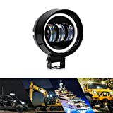 Halo Led Fog Lights 30W Offroad LED Angel Eye Halo Ring 1pc Pack Round Driving Work Light Bars with Projector Lens for Trucks 4x4s SUV Mining Boat Farming and Heavy Equipment (MNG-30W-R)