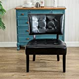 Roundhill Furniture Faux Leather Tufted Accent Chair, Oversized, Black
