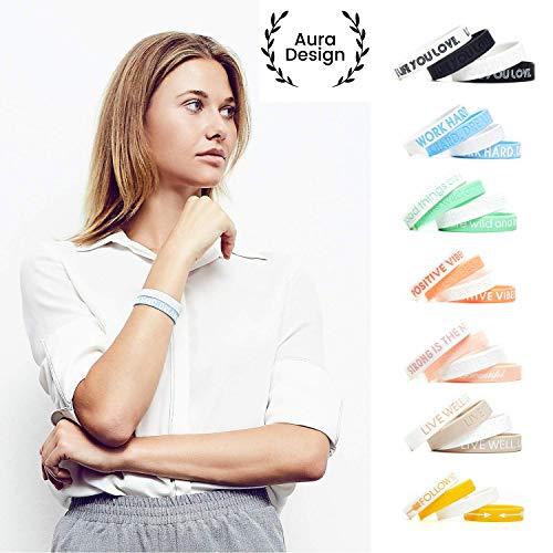 Aura Design Damen-Armband | Hellblau | Work Hard. Dream Big. | Silikonarmband | Sportarmband | Fitness-Armband | Armband für Damen | 4 Armbänder