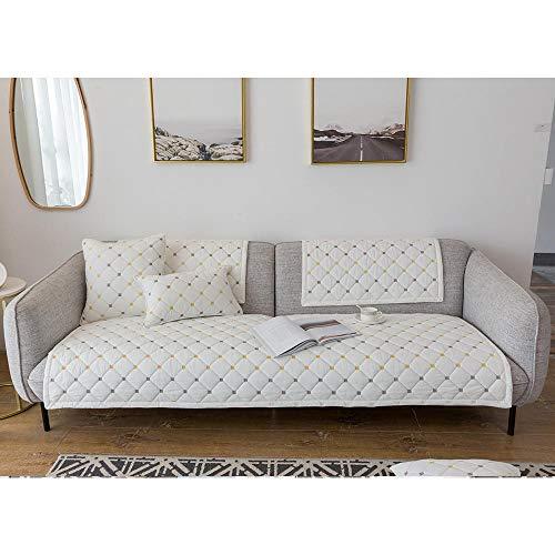 Fundas Sofás,Funda Antideslizante de algodón Moderna para sofá,Fundas para sofá de Oficina,Protector Antideslizante para sofá,Protector de sofá Transpirable,Funda para Muebles-Blanco El 110 * 1