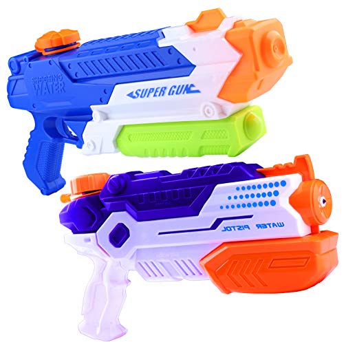 ZHIHAN Squirt Guns for Kids Adult, 2 Pack 900CC/ 700 CC High Capacity Water Gun, 23-26 Feet Fast Trigger Super Water Blaster Soaker, Water Fighting Summer Toy in Swimming Pools Beach Sand Party