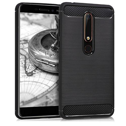 kwmobile Hülle kompatibel mit Nokia 6.1 (2018) - Handyhülle Silikon Hülle - Brushed Carbon Schwarz