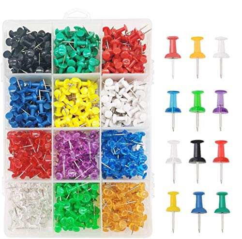 600 Pack Thumb Tacks, Colored Map Push Pins Multicolored Push Pins Assorted 12 Colors, Decorative with Steel Point for Bulletin Board, Fabric Marking, Crafts and Organization at Home Office Schoo