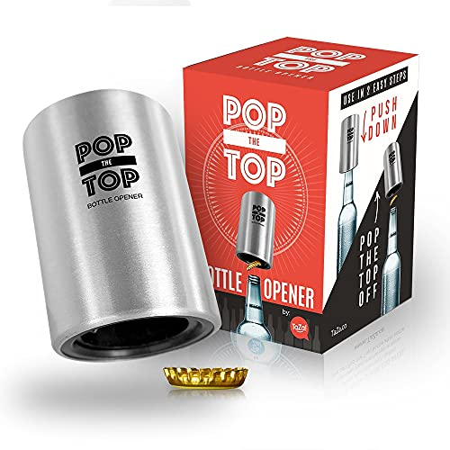 Pop-the-Top Beer Bottle Opener (Stainless): Automatic Bottle Opener, No Damage to Cap - by TaZa