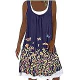 Robe d'été pour femme - Robe midi sans manches - Longueur genoux - Boho - Ligne A - Col en U - Décontractée - Robe de plage - Mini robe de plage en vrac à deux couches - Multicolore - Taille Unique