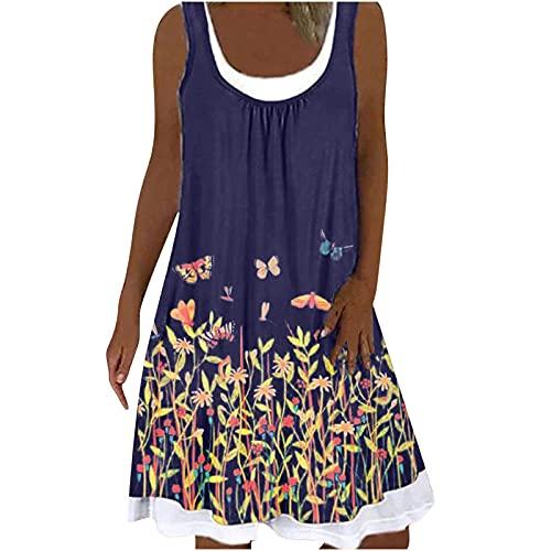 Damen-Kleider Sommerkleid Damen Midi Ärmellos Knielang Boho A-Linie Kleid U-Ausschnitt Casual Strand Kleider Lose Minikleid Strandkleider...