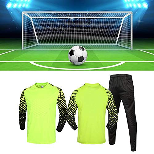 JSPT Fußballtorhüteruniform Trikot Protective Anti-Collision Shirts Anzug Gepolsterte Fußballtorhüter-Sets Anpassbare,Green,S(130-150cm) Height