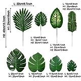 PietyPet 68 Stück 8 Arten Tropische Pflanze Palm Blätter Monsterablätter, Plastikpalmenblätter, künstliche Palmenblätter mit Stielen, für Hawaiische Luau Dschungel Strand Thema Tischdekoration - 3