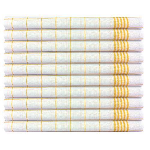 B&D Textiles GmbH 10er Set Geschirrtücher, Spültücher, Abtrockentücher, Gelb, 50x70 cm, 100% Baumwolle