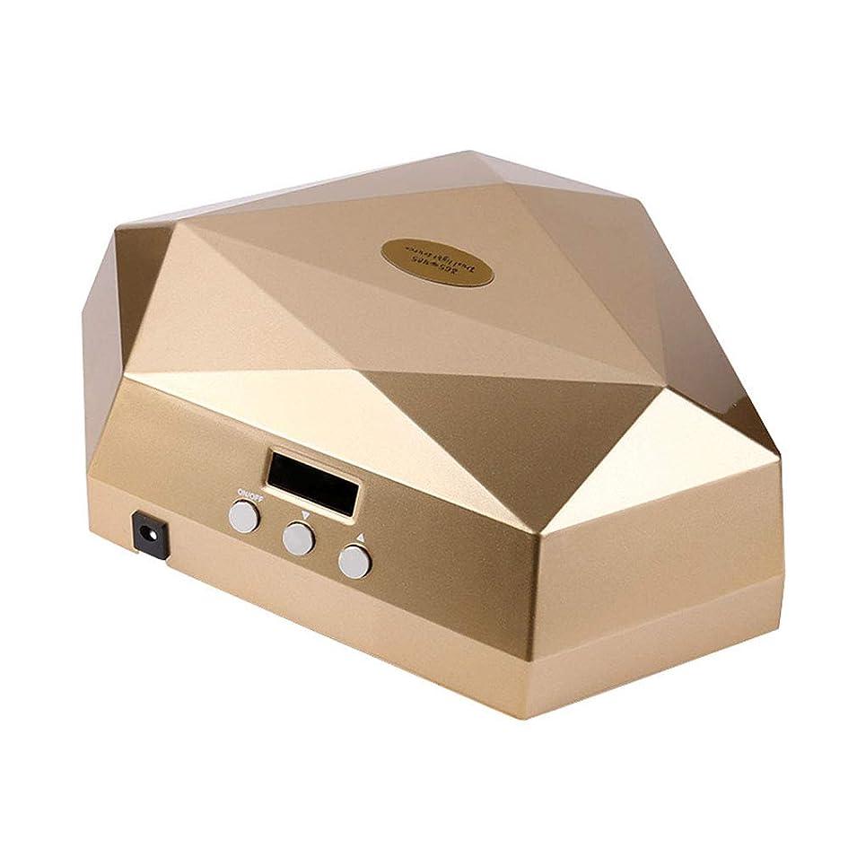 むさぼり食う突き出す早熟60ワットネイルドライヤー、ネイル用ポータブルLED/UVランプ、赤外線センサー、取り外し可能な磁性プレート、LCDディスプレイ、すべてのゲルに適して,Gold