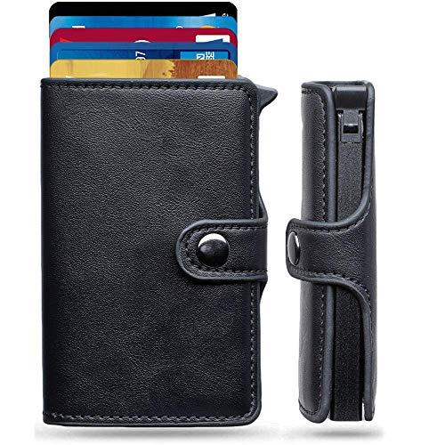 Porta Carte Credito - MONEYHOLD™ - Porta Carte di Credito Schermato RFID e Porta Banconote - Porta Tessere e Fermasoldi Nero, Elegante e Tascabile - Fibra Di Carbonio - (INCLUSA: Scatola Regalo)