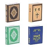 4 Stück Miniatur Bücher Set, Puppenhaus Wohnzimmer Schlafzimmer Deko Zubehör, Ca. 4 x 3 x 0,9 cm