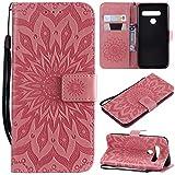 KKEIKO Hülle für LG G8 ThinQ, PU Leder Brieftasche Schutzhülle Klapphülle, Sun Blumen Design Stoßfest Handyhülle für LG G8 ThinQ - Rosa