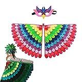 Alas de fieltro Alas de disfraces de carnaval de Halloween, Alas decorativas para niños de vestir creativos, Disfraz de pavo real para niños, máscara de pico con capa de pájaro para niños y niñas (D)