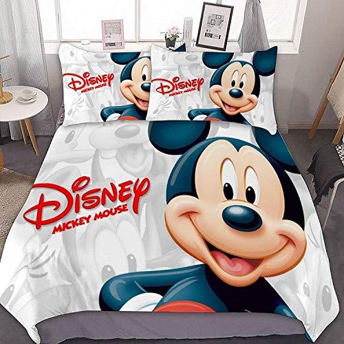 Amacigana Mickey Mouse Juego de Ropa de Cama,Juego De Funda De Edredón De Minnie Y Mickey Mouse Funda Nórdica,3 Piezas,Microfibra (A04,155 x 220 cm)