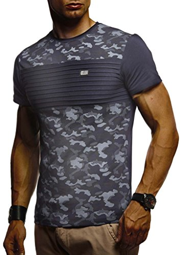 Leif Nelson Herren Sommer T-Shirt Rundhals-Ausschnitt Slim Fit Baumwolle-Anteil Moderner Männer T-Shirt Crew Neck Hoodie-Sweatshirt Kurzarm lang LN405 Dunkel Blau Large