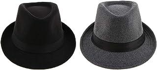 Generic 2x Classic Men's Fedora Hat Panama Hat Trilby Wool Felt Hat Trilby Hat