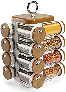 JVS Plastic Spice Jar, 6.5X6.5X11.5 Inches, 16 Pieces, Wood Finish
