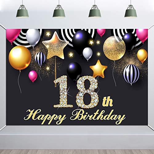 HOWAF 18 Cumpleaños Decoración, Extra Grande 18 Cumpleaños Pancarta para Foto Prop Fondo, Tela Póster Fondo Pancarta para 18 Años Cumpleaños Fiesta Artículos Materiales