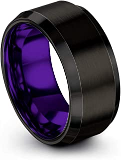 Tungsten Carbide Wedding Band Ring 10mm for Men Women Green Red Blue Purple Black Copper Fuchsia Teal Bevel Edge Brushed Polished