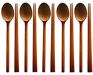 SODIAL Handmade Jujube Tree Wooden Korean Dinnerware Combinations Utensil,5 Set of Spoons and Chopsticks