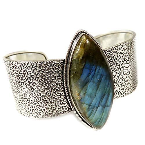 GoyalCrafts Pulsera de brazalete de labradorita chapada en plata de la joyería natural de la piedra preciosa GBB37